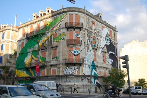 Lisbon street art on building
