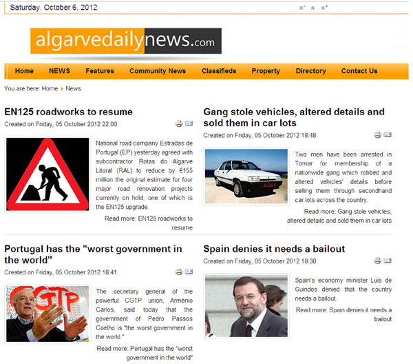 News page of Algarve Daily News