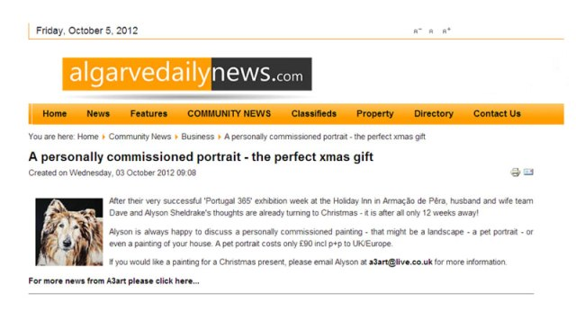 Algarve Daily News Article A3 Art