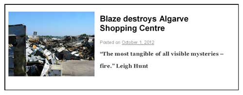 Blaze destroys Algarve Shopping Centre