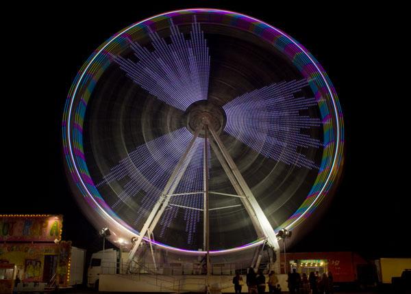 Funfair big wheel colour Sao Martinho Fair Portimao