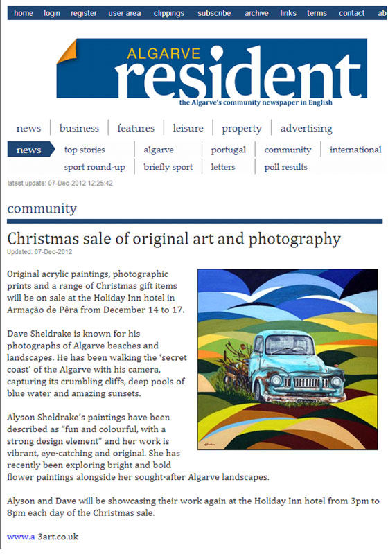 A3 Art Algarve Resident article