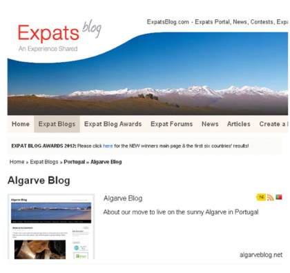 Expats Blogs Awards page Algarve Blog