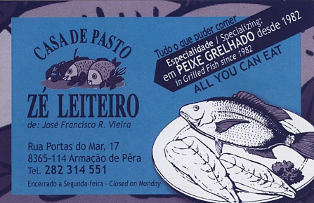 Ze Leiteiro fish restaurant Algarve Blog business card