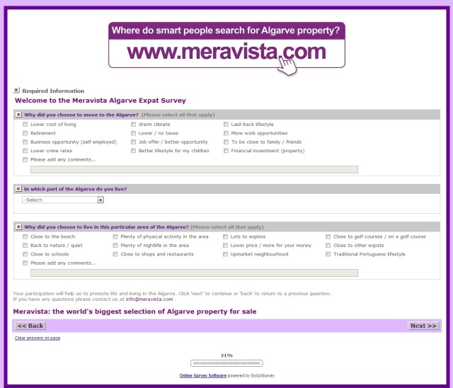 Meravista survey screenshot