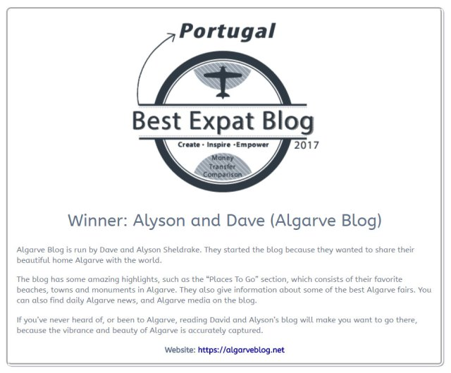 Best Expat Blog Award Portugal 2017
